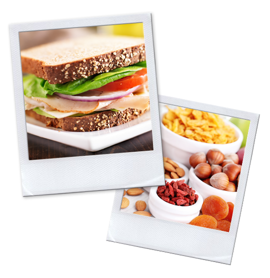 Polaroids of a freshly made sandwich and fruit with dried nuts