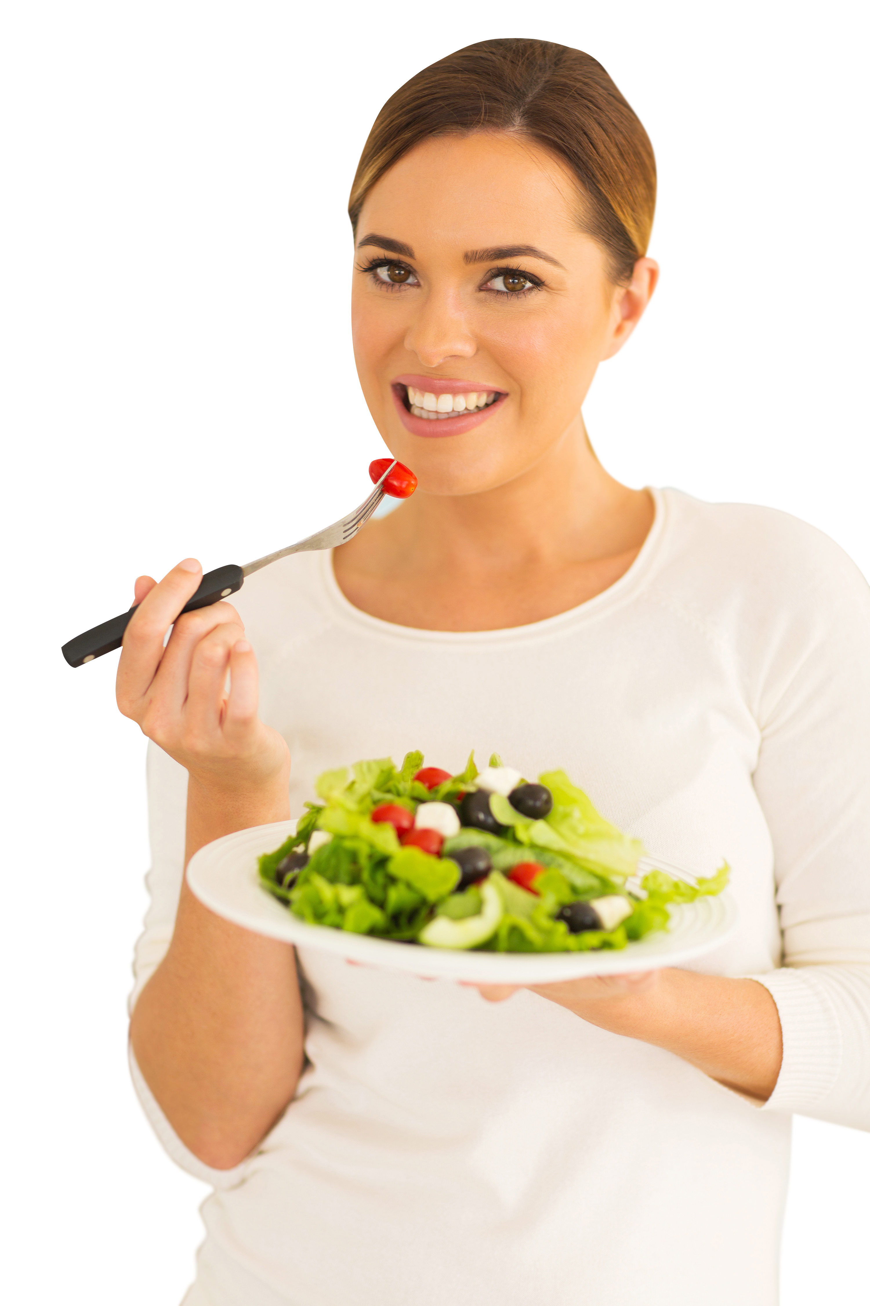 Happy employee eating a fresh salad